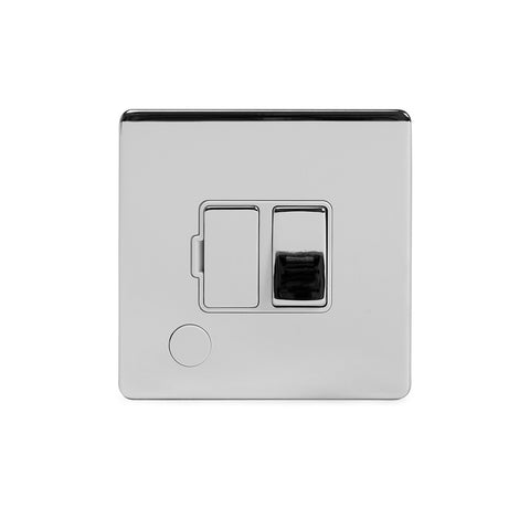 Screwless Polished Chrome 13A Switched Fuse Connection Unit Flex Outlet