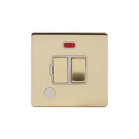 Screwless Brushed Brass 13A Switched Fuse Connection Unit Flex Outlet With Neon