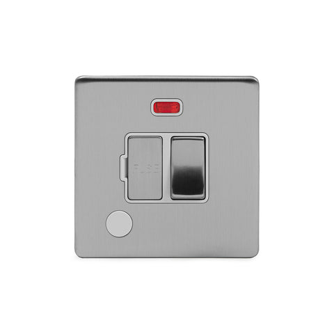 Screwless Brushed Chrome 13A Switched Fuse Connection Unit Flex Outlet With Neon
