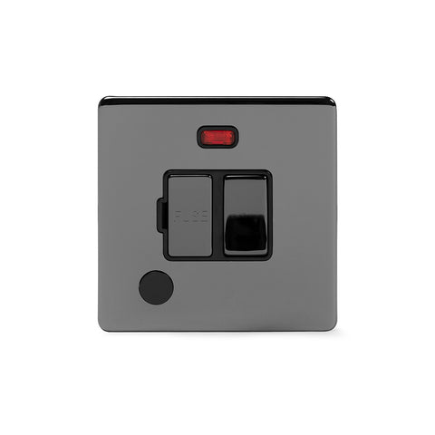 Screwless Black Nickel 13A Switched Fuse Connection Unit Flex Outlet With Neon