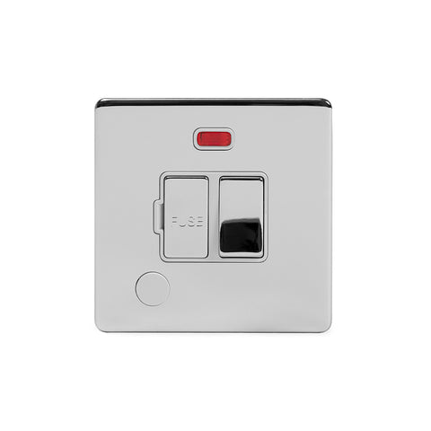 Screwless Polished Chrome 13A Switched Fuse Connection Unit Flex Outlet With Neon