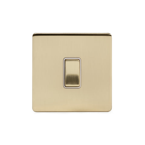 Screwless Brushed Brass 20A 1 Gang Double Pole Switch
