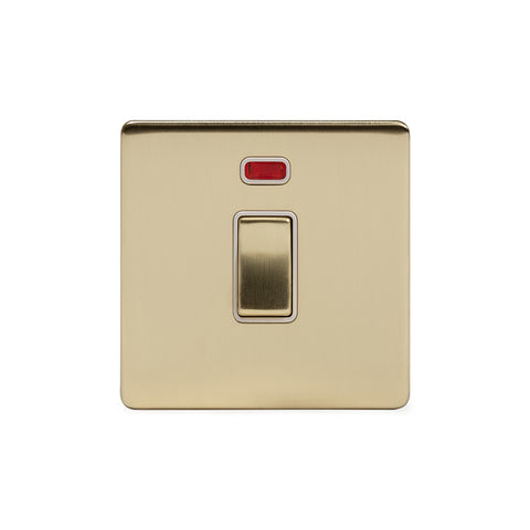 Screwless Brushed Brass 20A 1 Gang Double Pole Switch With Neon