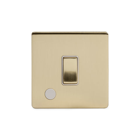 Screwless Brushed Brass 20A 1 Gang Double Pole Switch Flex Outlet
