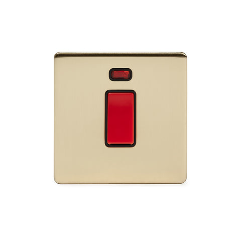 Screwless Brushed Brass 13A Switched Fuse Connection Unit Flex Outlet With Neon  - Black