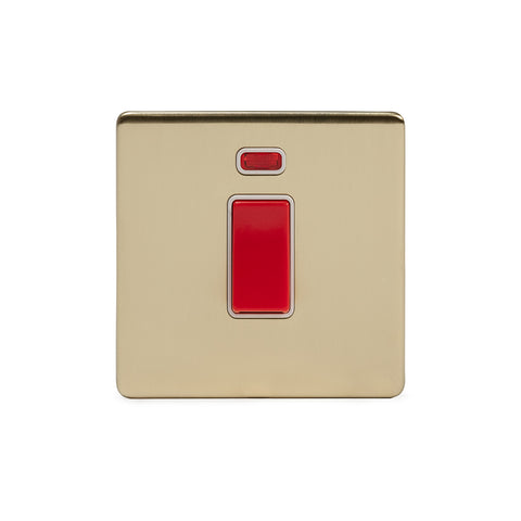 Screwless Brushed Brass 45A 1 Gang Double Pole Switch With Neon - Single Plate