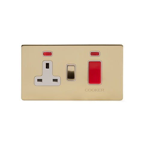 Screwless Brushed Brass 45A Cooker Control Unit With Neon