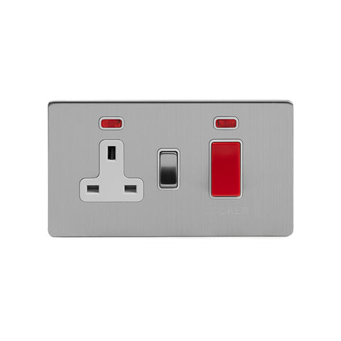 Screwless Brushed Chrome 45A Cooker Control Unit With Neon
