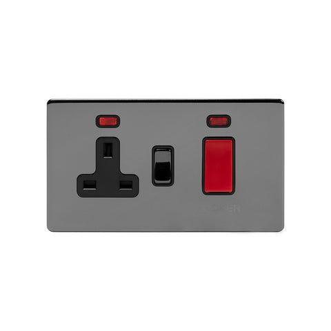 Screwless Black Nickel 45A Cooker Control Unit With Neon