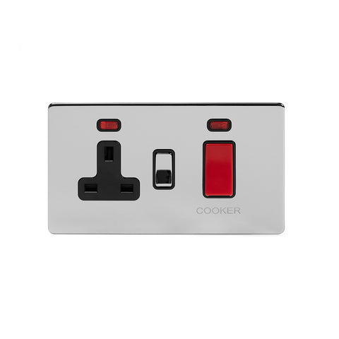 Screwless Polished Chrome 45A Cooker Control Unit With Neon