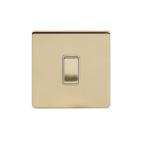 Screwless Brushed Brass 10A 1 Gang 2 Way Light Switch