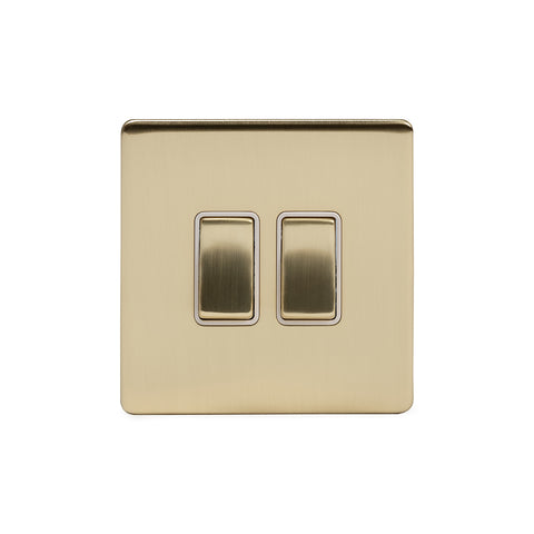 Screwless Brushed Brass 10A 2 Gang 2 Way Light Switch