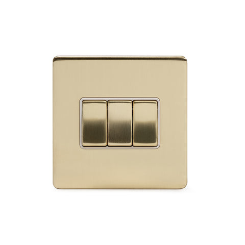 Screwless Brushed Brass 10A 3 Gang 2 Way Light Switch
