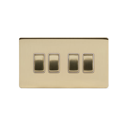 Screwless Brushed Brass 10A 4 Gang 2 Way Light Switch
