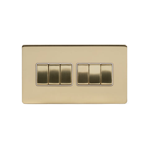 Screwless Brushed Brass 10A 6 Gang 2 Way Light Switch