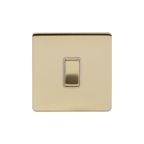 Screwless Brushed Brass 1 Gang Intermediate Light Switch