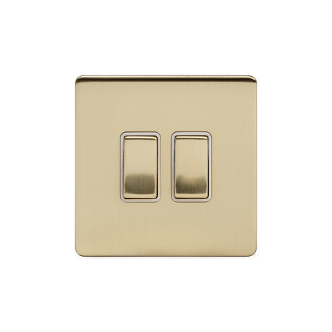 Screwless Brushed Brass 2 Gang Intermediate Light Switch