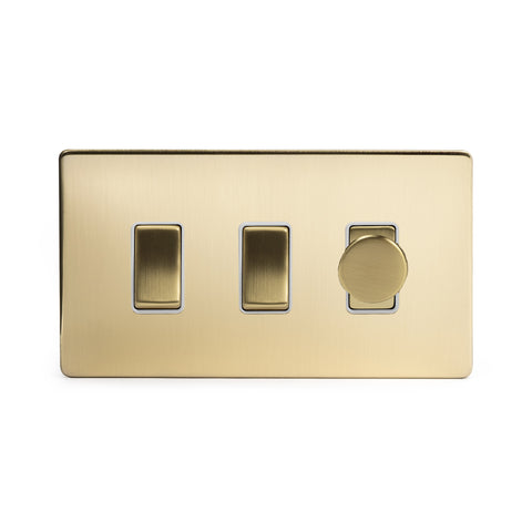 Screwless Brushed Brass 3 Gang Light Switch with 1 dimmer (2x 2 Way Switch - 400w Trailing Dimmer)