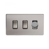 Screwless Brushed Chrome 3 Gang Light Switch with 1 dimmer (2x 2 Way Switch & 400w Trailing Dimmer)