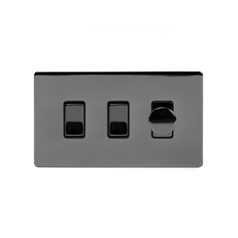 Screwless Black Nickel 3 Gang Light Light Switch with 1 dimmer (2x 2 Way Light Switch & 400w Trailing Dimmer)