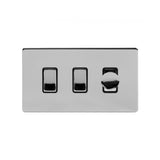 Screwless Polished Chrome 3 Gang Light Switch with 1 dimmer (2x 2 Way Light Switch & 400w Trailing Dimmer)