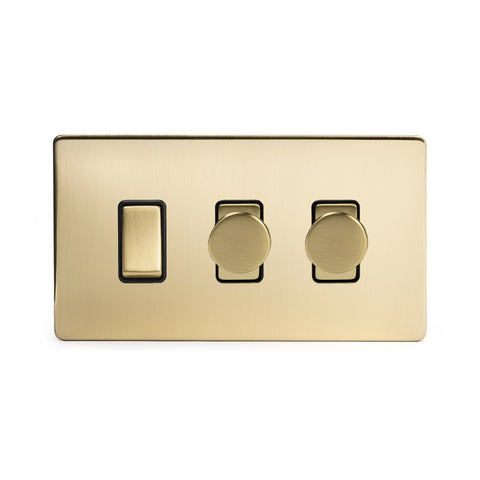Screwless Brushed Brass 3 Gang Light Switch with 2 Dimmers (2 Way Switch & 2x Trailing Dimmer)