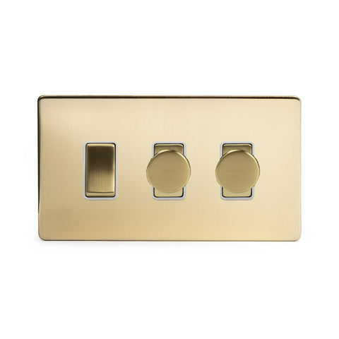 Screwless Brushed Brass 3 Gang Light Light Switch with 2 Dimmers (1x2 Way Light Light Switch with 2x Trailing Edge Dimmer)