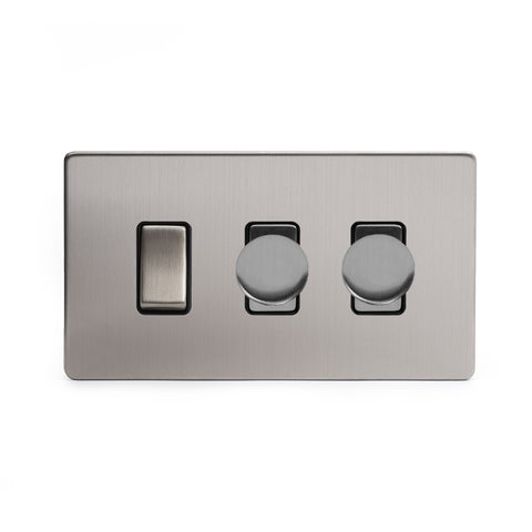 Screwless Brushed Chrome 3 Gang Light Switch with 2 Dimmers (2 Way Switch & 2x Trailing Dimmer)