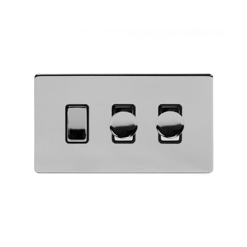 Screwless Polished Chrome 3 Gang Light Switch with 2 Dimmers (2 Way Light Switch & 2x Trailing Dimmer) - Black