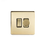 Screwless Brushed Brass Gang Light Switch With 1 dimmer (1 x 2 Way Switch & 400w Trailing Dimmer) - Black