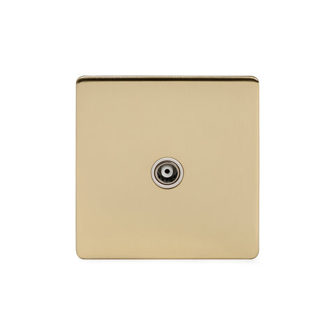 Screwless Brushed Brass 1 Gang TV Socket