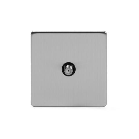 Screwless Brushed Chrome 1 Gang Satellite Socket