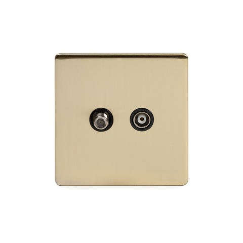 Screwless Brushed Brass 1 Gang TV + Satellite Socket  - Black
