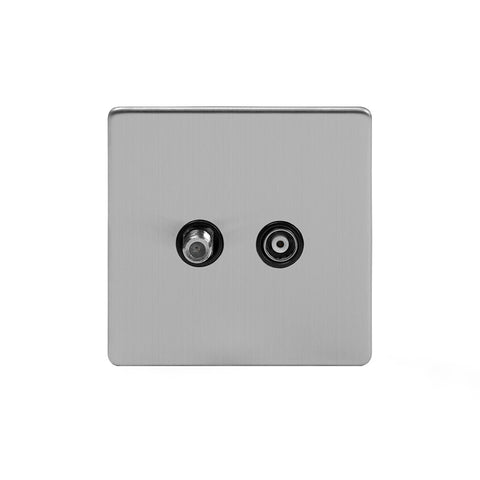 Screwless Brushed Chrome TV+ Satellite Socket