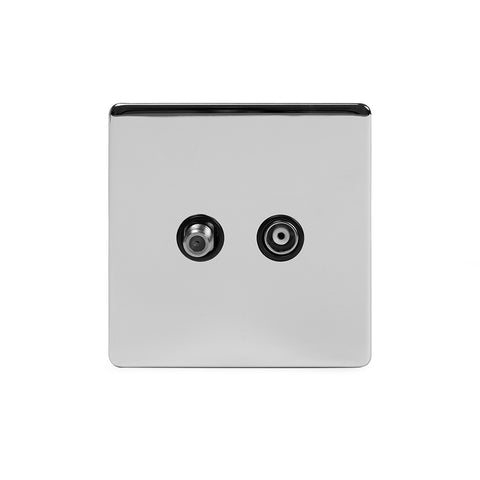 Screwless Polished Chrome TV+ Satellite Socket