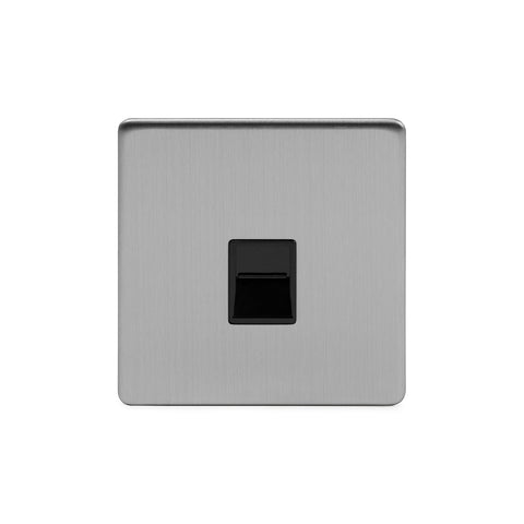 Screwless Brushed Chrome 1 Gang Telephone Master Socket