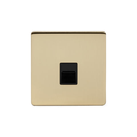 Screwless Brushed Brass 1 Gang Telephone Secondary Socket - BT  - Black