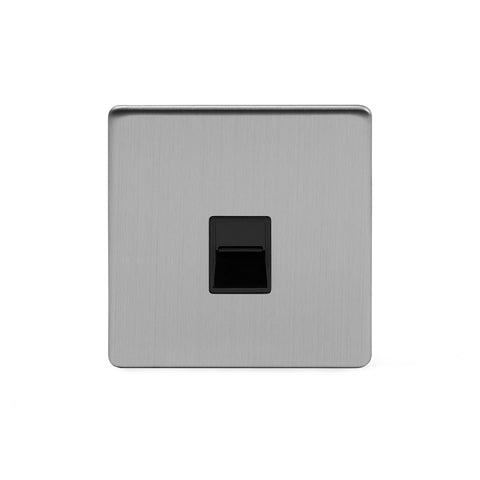 Screwless Brushed Chrome 1 Gang Telephone Secondary Socket