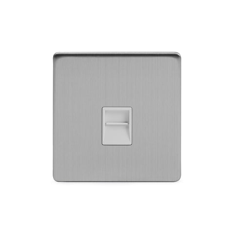 Screwless Brushed Chrome 1 Gang Telephone Secondary Socket-BT