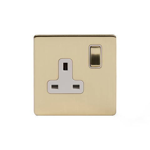 Screwless Brushed Brass 13A 1 Gang Switched Socket - Double Pole