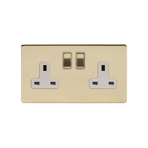 Screwless Brushed Brass 13A 2 Gang Switched Socket - Double Pole