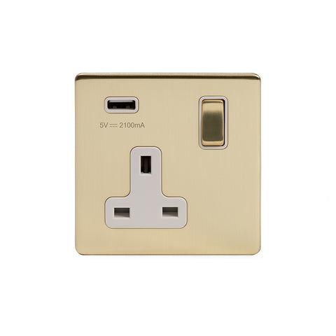 Screwless Brushed Brass 13A 1 Gang DP USB Switched Socket (USB Output 2.1amp)