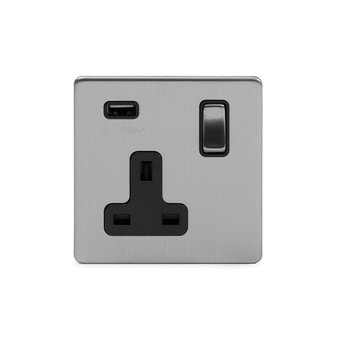 Screwless Brushed Chrome 13A 1 Gang DP USB Switched Socket (USB Output 2.1amp)