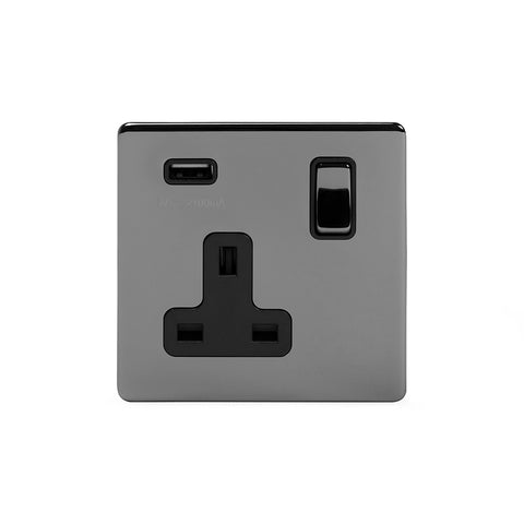 Screwless Black Nickel 13A 1 Gang DP USB Switched Plug Socket Output 2.1amp