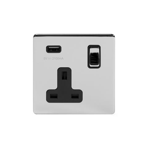 Screwless Polished Chrome 13A 1 Gang DP USB Switched Plug Socket (USB Output 2.1amp)