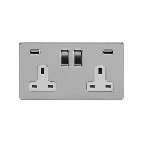 Screwless Brushed Chrome 13A 2 Gang DP Fast Charge USB Switched Plug Socket (USB Output 4.8amp)