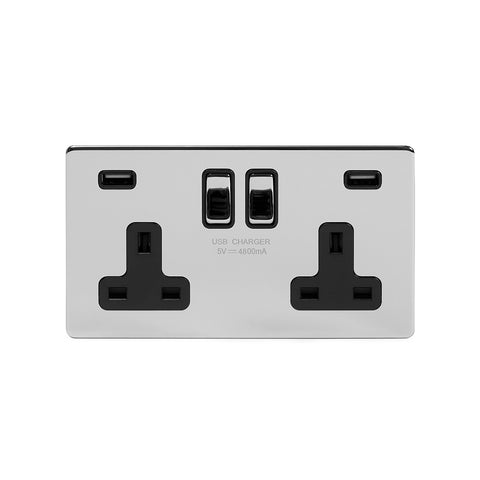 Screwless Polished Chrome 13A 2 Gang DP USB Switched Plug Socket (USB Output 4.8amp)