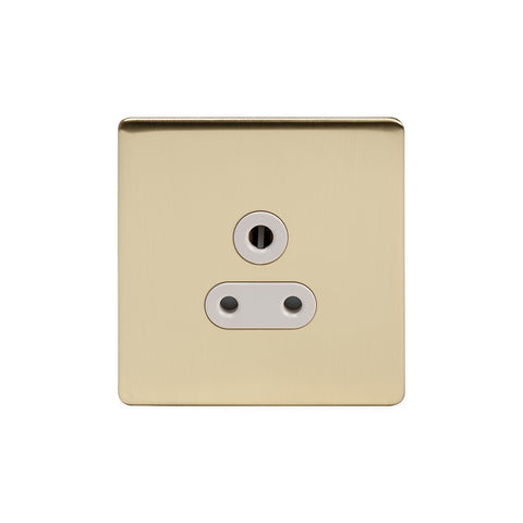 Screwless Brushed Brass 5 Amp Unswitched Plug Socket