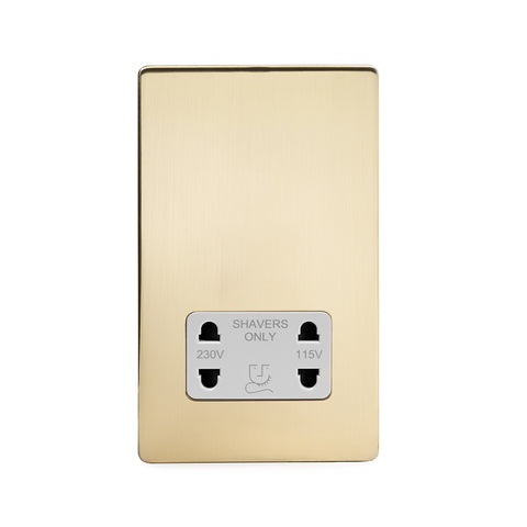 Screwless Brushed Brass Shaver Socket 230/115V Plate