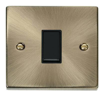 Antique Brass 10A 1 Gang 2 Way Light Switch - Black Trim